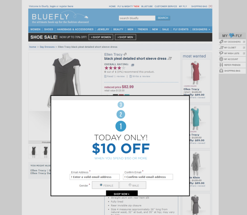 eCommerce Overlay popups