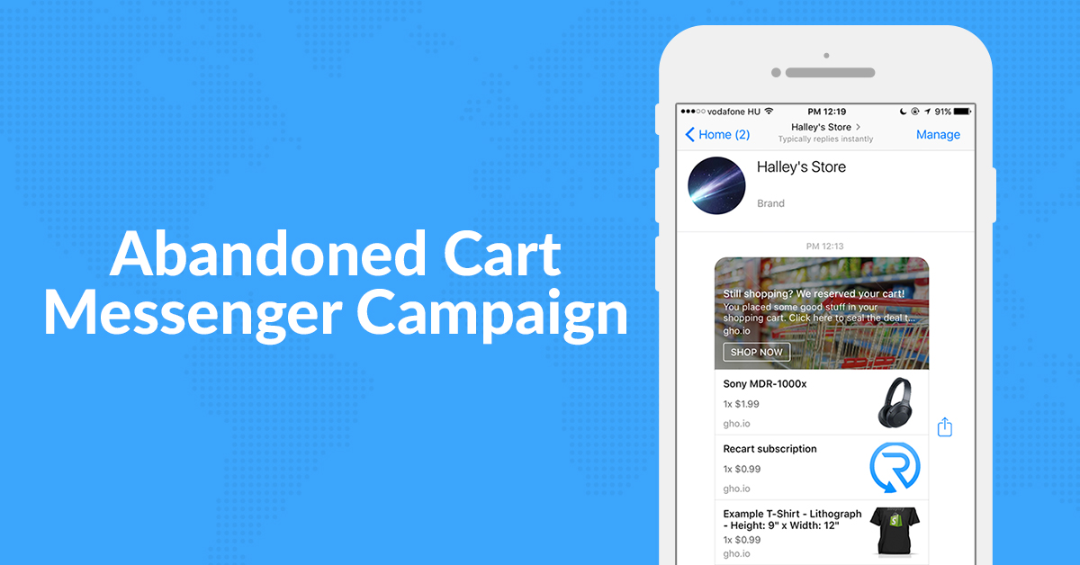 Send Abandoned Cart Facebook Messages Straight from Your Shopify Store