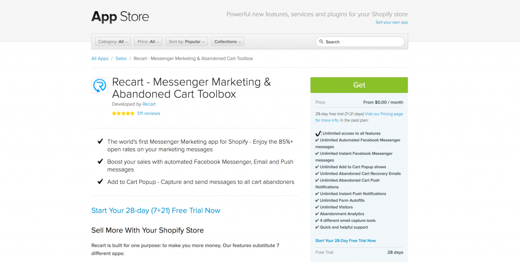 Recart App on the Shopify App Store