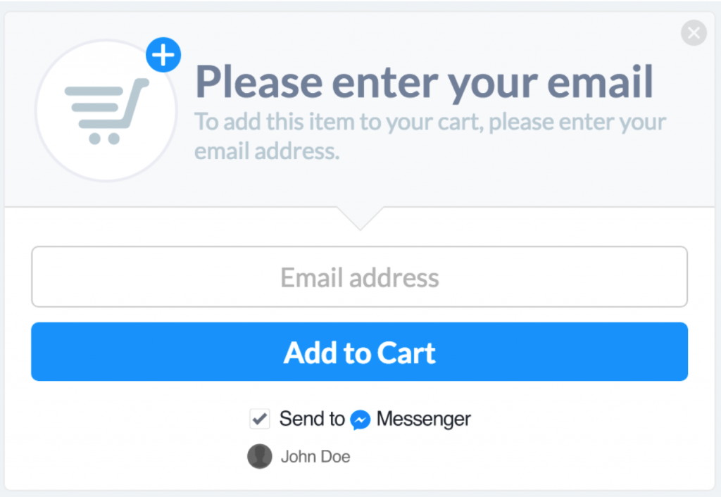 Facebook Messenger add to cart