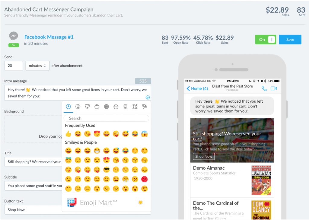 Recart, Facebook Messenger, message editor