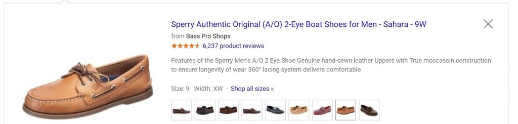 Example of ecommerce PPC google ad