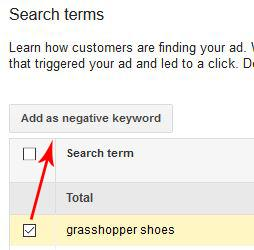 Ecommerce adwords negative search terms