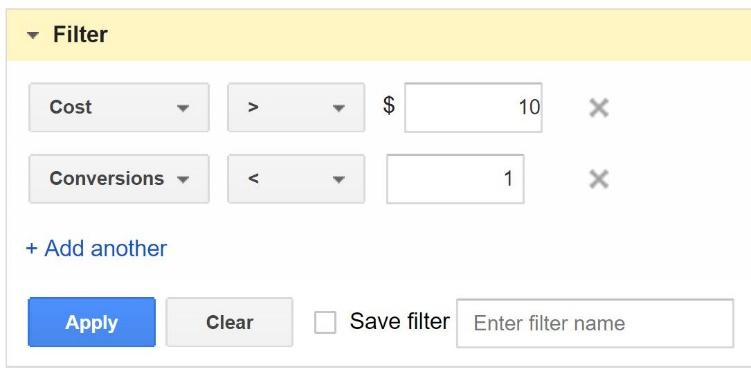 Adwordsa Filters for PPC ecommerce