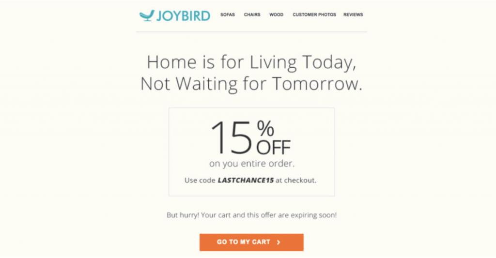 Joybird cart abandonment