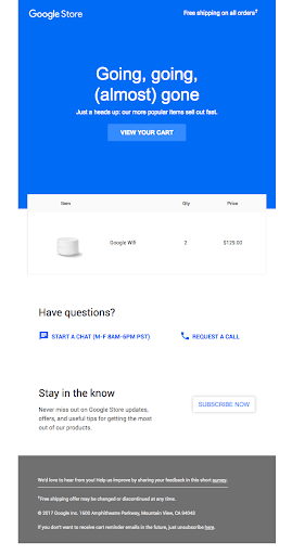 Google, abandonment email