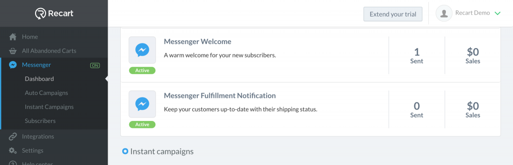 Set up messenger marketing