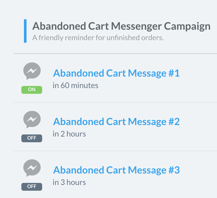 Abandoned cart messenger marketing