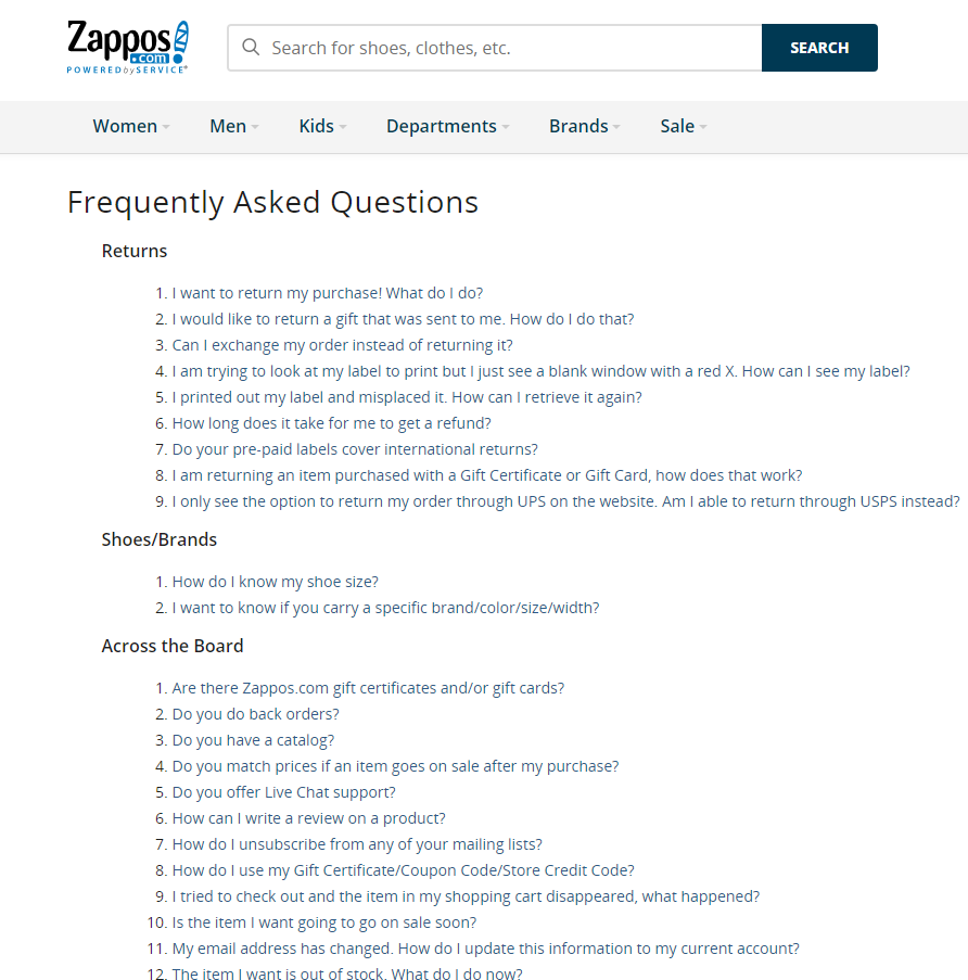 A page from a brand called Zappos with the FAQ section.